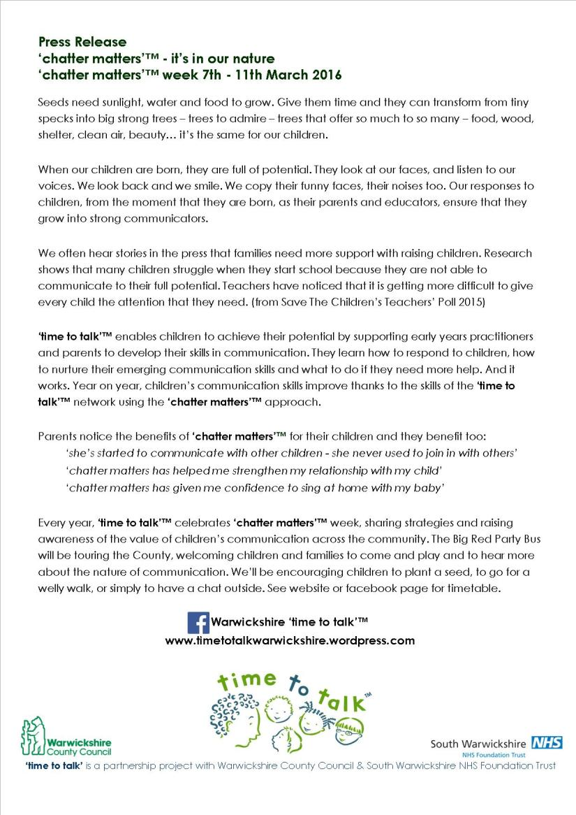 'chatter matters' week press release 2016