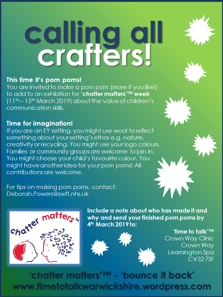 chatter matters week crafters flyer - pom poms